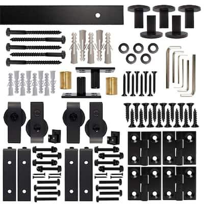72 in. Black Double Bi-Fold Sliding Barn Door Track and Hardware Kit