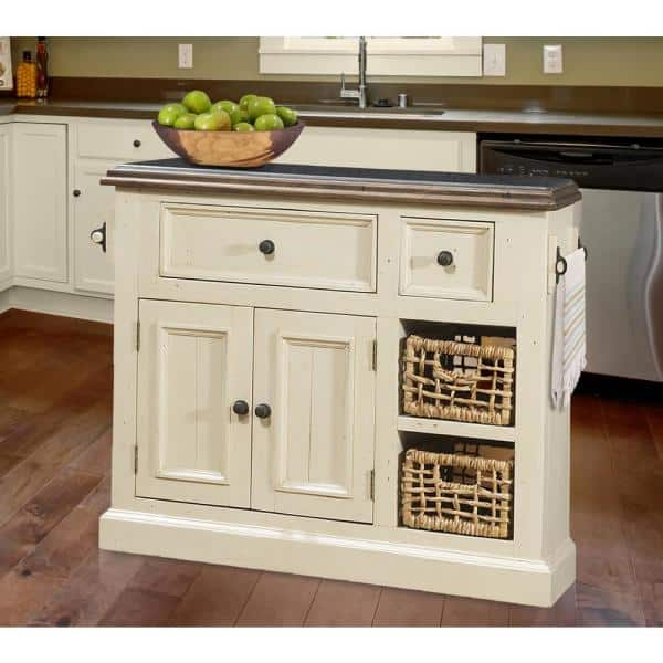Reviews For Hillsdale Furniture Tuscan Retreat Country White Medium Granite Top Kitchen Island With 2 Baskets 5465 1039w The Home Depot
