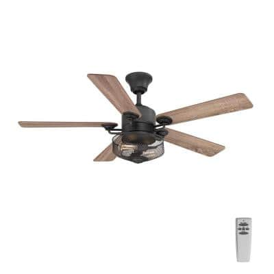 Greer 54 in. Integrated LED Indoor Gilded Iron Indoor or Outdoor Ceiling Fan with Light Kit and Remote