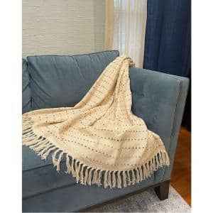 LR Home Soft Luxury Handmade Boho Striped Throw Blanket with Fringe