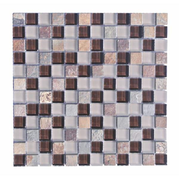 Abolos Mineral Brown Square Mosaic 1 In X 1 In Glass And Stone Mesh Mounted Wall Tile 0 98 Sq Ft Hmdmin0101 Mu The Home Depot