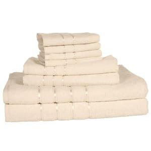 8-Piece Beige Solid Cotton Bath Towel Set