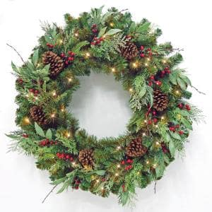 36 in Woodmoore Battery Operated Mixed Pine LED Pre-Lit Artificial Christmas Wreath with Timer