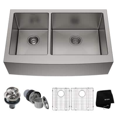 Standard PRO Stainless Steel 32.88 in. Double Bowl Farmhouse/Apron-Front Kitchen Sink