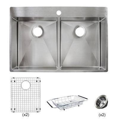 Vector All-in-One Dual Mount Stainless Steel 33 in. 1-Hole Double Bowl Kitchen Sink Kit