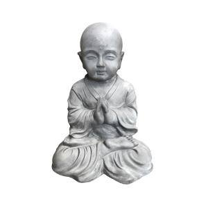 16.5 in. Tall Natural Concrete Lightweight Sitting Praying Monk Outdoor Sculpture