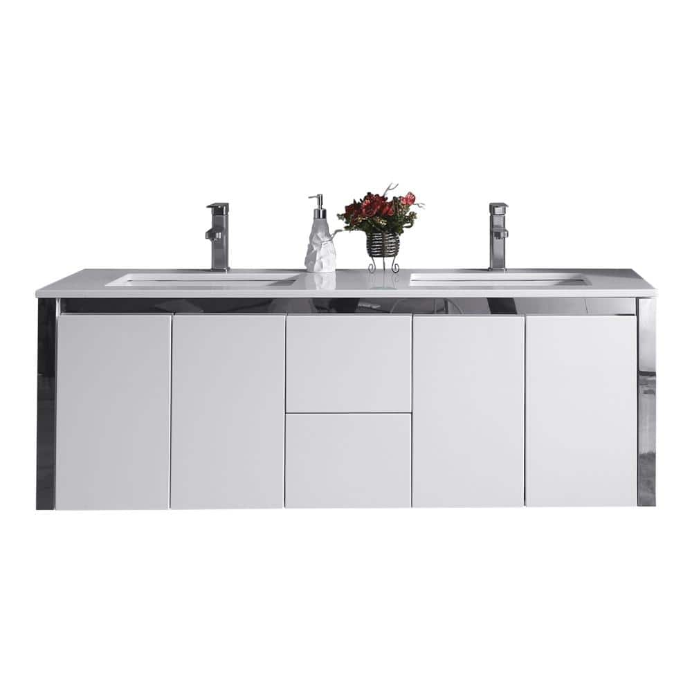 Ove Decors Lelio 59 In W X 18 1 In D Wall Hung Vanity In White With Resin Vanity Top In White With White Basin Lelio The Home Depot