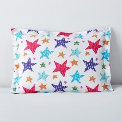 Bright Stars Multicolored Graphic 200-Thread Count Organic Cotton Percale Standard Sham