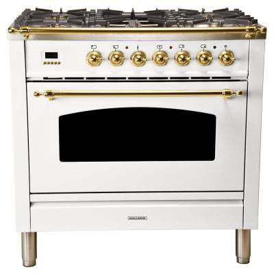 36 in. 3.55 cu. ft. Single Oven Italian Gas Range with True Convection, 5 Burners, Griddle, LP Gas, Brass Trim in White