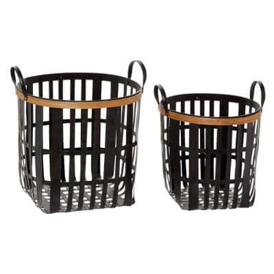 Black Metal And Natural Wood Basket With Handles, Set Of 2: 17in , 20in