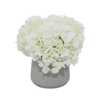 10 in. L x 10 in. H 10 in. x 40 in. and 12 in. x 38 in. Green Small White Hydrangea Arrangement Vase
