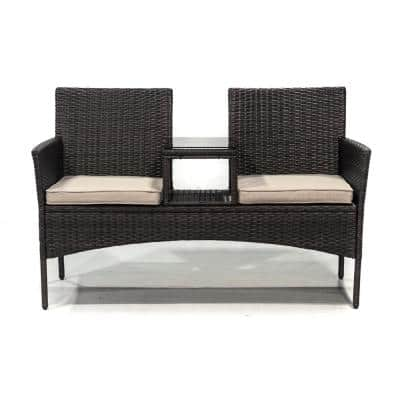 Adreanne Brown Wicker Tete-a-Tete Bench with Tan Cushions