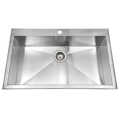 Bellus Series 33 in. Drop-In 1-Hole Zero Radius Single Bowl Bathroom Sink in Stainless Steel