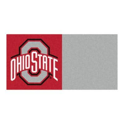 NCAA - Ohio State University Gray and Red Nylon 18 in. x 18 in. Carpet Tile (20 Tiles/Case)