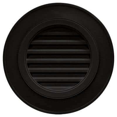 28 in. x 28 in. Round Black Plastic Weather Resistant Gable Louver Vent