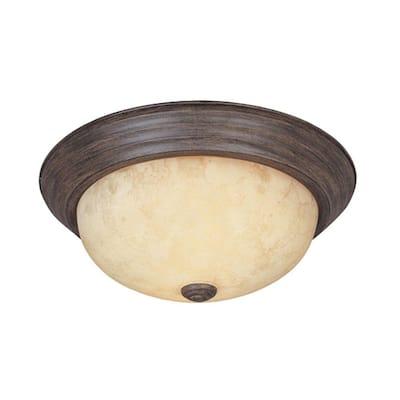 "Decorative Flushmount 11"" Small 2-Light Warm Mahogany Ceiling Flush Mount"