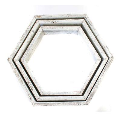 3-Piece Rustic Farmhouse White Wash Floating Hexagon Wall Shelf Set
