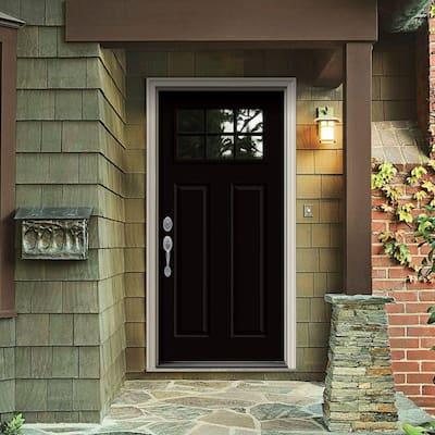 30 in. x 80 in. 6 Lite Craftsman Black w/ White Interior Steel Prehung Right-Hand Inswing Front Door w/Brickmould