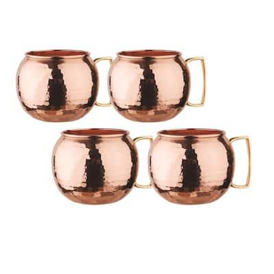 32 oz. Hammered Solid Copper Globe Moscow Mule Mug (Set of 4)