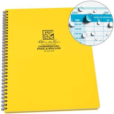All-Weather 8-1/2 in. x 11 in. Side-Spiral Notebook Commercial Pool and Spa Maintenance Log, Yellow Cover