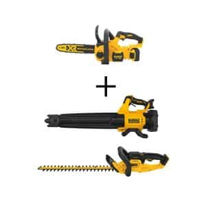 12 in. 20V MAX Lithium-Ion Cordless Brushless Chainsaw Kit w/20V Brushless Blower and 22 in. Hedge Trimmer (Tools Only)