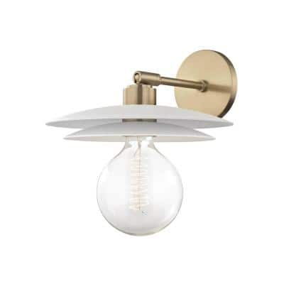 Milla 1-Light Aged Brass Large Wall Sconce with White Shade