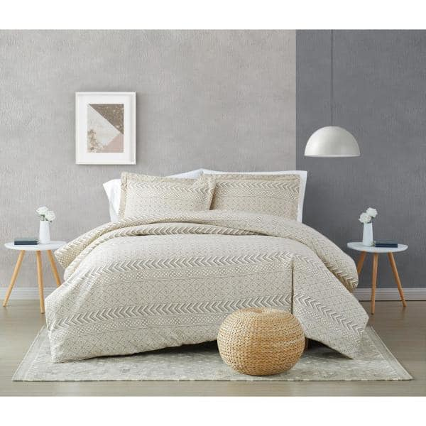 Brooklyn Loom Chase 2 Piece Cream And Black Cotton Twin Twin Xl Comforter Set Cs3584txl 1500 The Home Depot