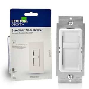Decora SureSlide Universal 150W LED/CFL Incandescent Slide-To-Off Dimmer, White