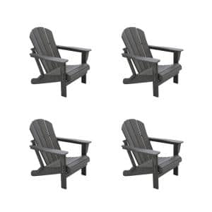 DECO Gray Folding Poly Outdoor Adirondack Chair (Set of 4)