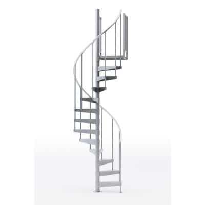 Reroute Galvanized Exterior 42in Diameter, Fits Height 110.5in - 123.5in, 1 42in Tall Platform Rail Spiral Staircase Kit