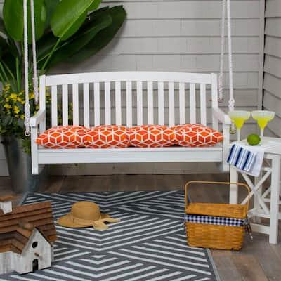 Cubed 44 in. x 18.5 in. x 6 in. Outdoor Tufted Rectangular Loveseat Cushion in Orange