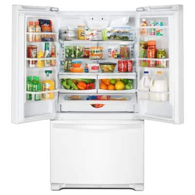 25 cu. ft. French Door Refrigerator in White with Internal Water Dispenser