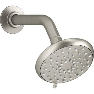 Awaken 3-Spray 4.6 in. Single Wall Mount Fixed Rain Shower Head in Brushed Nickel