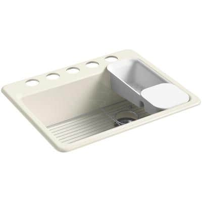 Riverby Undermount Cast Iron 27 in. 5-Hole Single Bowl Kitchen Sink Kit in Biscuit