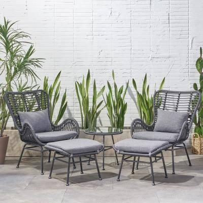 Montana Grey 5-Piece Metal Patio Conversation Seating Set with Dark Grey Cushions