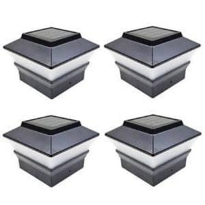 Relightable Solar 4 in. x 4 in. Black Vinyl Outdoor Post Cap Deck Lights (4-Pack)