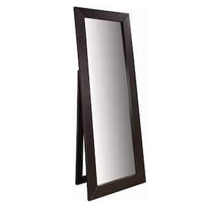 Oversized Brown Wood Modern Mirror (72 in. H X 28 in. W)