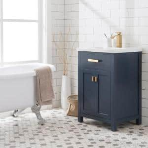 MYRA 24 in. W Bath Vanity in Monarch Blue Finish with Ceramics Integrated Vanity Top with White Basin