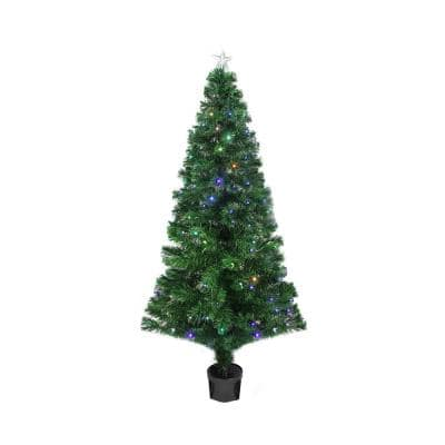 4 ft. Pre-Lit LED Color Changing Fiber Optic Christmas Tree with Star Tree Topper