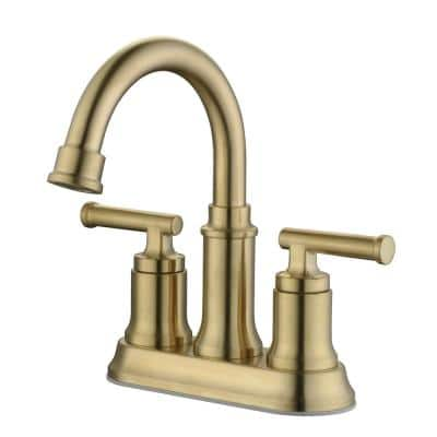 Oswell 4 in. Centerset 2-Handle High-Arc Bathroom Faucet in Matte Gold