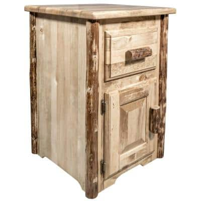 Glacier Country Collection 30 in. Brown End Table with Drawer and Door, Right Hinged