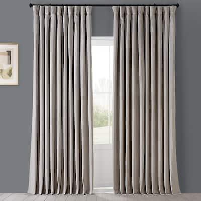 Cool Beige Velvet Rod Pocket Blackout Curtain - 100 in. W x 120 in. L