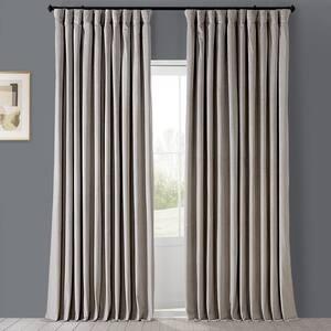 Cool Beige Velvet Rod Pocket Blackout Curtain - 100 in. W x 96 in. L