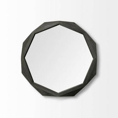 Mariana 32 in. x 2 in. Classic Round Framed Black Vanity Mirror
