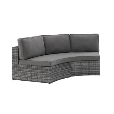 Catalina Gray 1-Piece Wicker Outdoor Sectional with Gray Cushions