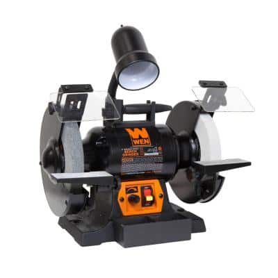 8 in. 5 Amp Variable Speed Bench Grinder with Flexible Work Light