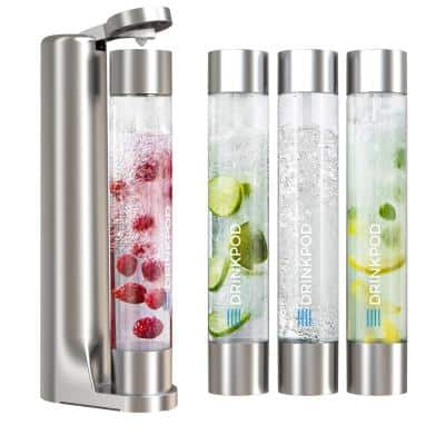 FIZZPod Silver One Touch Sparking Soda Maker Machine with 3-Bottles