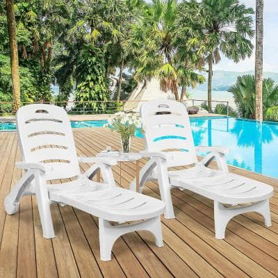 Pastoralism 1-Piece Plastic Outdoor Chaise Lounge White Adjustable Folding with Wheels