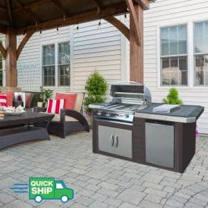 7 ft. Synthetic Wood Panel Grill Island with 4-Burner Gas Grill in Stainless Steel