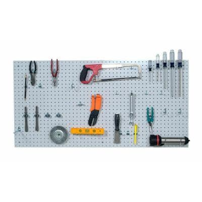 9/32 in. White Polypropylene Pegboards with Locking Hook Assortment (36-Piece)